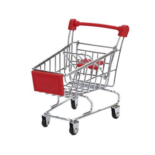 WuLi77 Mini supermercado Pretend Play carrito de compras juguete para niños, cesta de almacenamiento de carro de la compra de utilidad, accesorios de tienda para niños y niñas rosso
