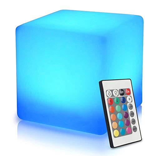 Mr.Go 16-inch 40cm Rechargeable LED Light Cube Stool Waterproof with Remote Control Magic RGB Color Changing Side Table Home Bedroom Patio Pool Party Mood Lamp Night Light Romantic Decorative Lighting chair gaming white