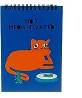 Pavilion - Not Meowtivated - 7インチ ユーモラスな猫 100ページ ハードバックノートパッド