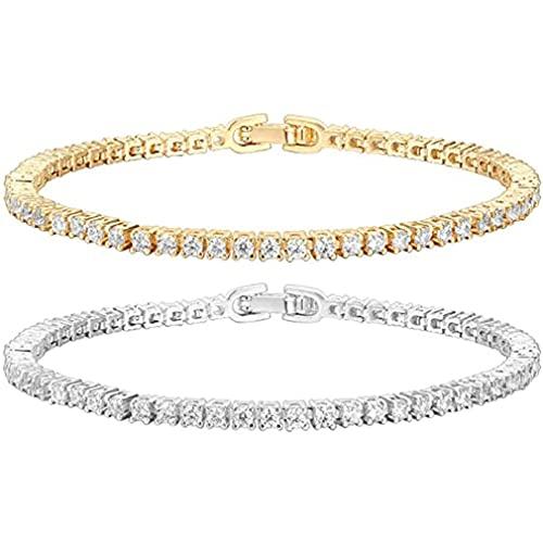 Pulsera de tenis chapada en oro de 4 mm con cristales de circonita cúbica y elegante y brillante, para atraer joyas para mujeres