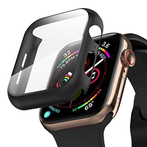 Hülle mit Schutzfolie für Apple Watch 44mm Series 6/SE/5/4 - TINICR 360° Schutz Kratzfester Schlagfester PC Schutzhülle mit Ultraklar Panzerglas Displayschutz Schutzglas (Schwarz)