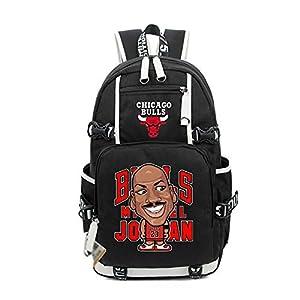 TFTREE Jordan dibujos animados hombres y mujeres mochila estudiante viaje gran capacidad cómoda cremallera bolsa lona…