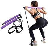 Widerstandsband, Yoga Fitnessbänder Pilatesstangen Fitnessgerät mit Fußschlaufe für Bodybuilding, Workout, Gewichtsverlust