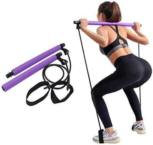 Roeam Kit De Barra De Pilates, Bandas de Resistencia de Yoga Pilates Stick, Bandas Elásticas de Gimnasio de Musculación, Tubo de Goma, Ejercicio de Entrenamiento de Equipos de Gimnasia, Morado