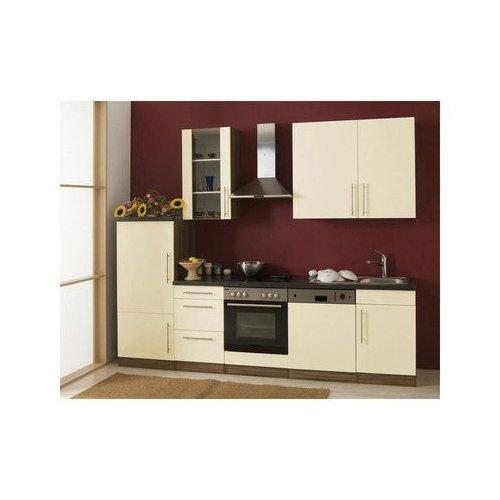 Mebasa MCUKB28NV Küche, Moderne Küchenzeile, hochwertige Einbauküche 280 cm Hochglanz, Küche inkl. Einbaugeräte - Einbaukühlschrank A+, Einbauherd, Glaskeramik Kochfeld, Einbaugeschirrspüler Energieeffizienzklasse A+, Einbauspüle, Dunstabzugshaube PKM DH6090 (nussbaum - vanille)
