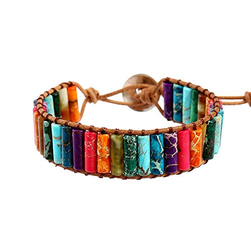 Plumiss 7 Chakra Leather Handmade Imperial Jasper Wrap Bead Adjustable Bracelet Collection For Women And Girl