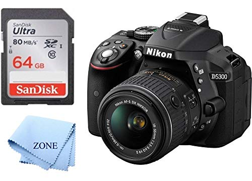 Nikon D5300 1522 Black 24.2 MP Digital SLR Camera with 18-55mm Lens +64GB SD Memory Card