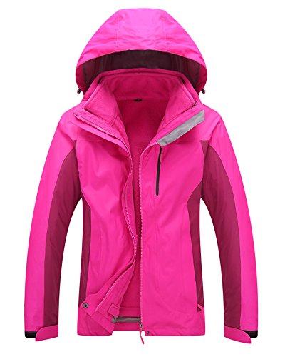 ZongSen Męska damska kurtka softshellowa 3 w 1, wodoszczelna, oddychająca, ciepła kurtka funkcyjna, podwójna kurtka outdoorowa