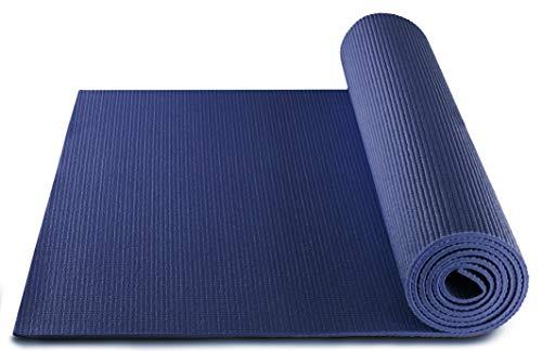 BODYMATE Yogamatte Universal Navy-Peony - Größe 183x61cm – Dicke 5mm – Schadstoffgeprüft frei von Phthalaten, BPA, Schwermetallen – Trainings-Matte für Fitness, Yoga, Pilates, Functional