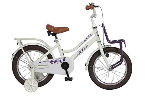 14 Zoll Mädchen Kinder Holland Fahrrad Kinderfahrrad Mädchenrad Hollandrad Kinderrad Mädchenfahrrad Bike Rad Rücktrittbremse Frontträger Stützräder Altec Tuana Weiß LILA