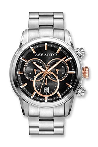 ASSARTO Watches ASH-9830TR/B-BLK Chronograph mit Schweizer Uhrwerk und Saphirglas, Edelstahluhr, Luxusuhr, Armbanduhr, Sportuhr, Quarzuhr, Uhr