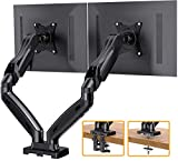 ErGear Dual Arm Monitor Desk Mount Stand, Adjustable Gas Spring, Swivel VESA Mount with C Clamp Grommet Mounting For Most 17-27 Inch Flat Curved Computer Screens up to 14.3lbs
