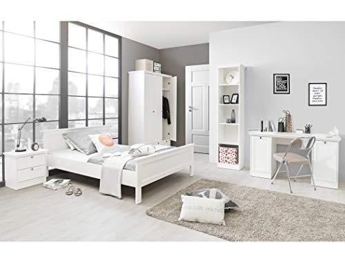expendio Jugendzimmer Landström 171 weiß 5-teilig Bett 90x200 Schreibtisch Bücherregal Kleiderschrank Nachttisch Landhausmöbel