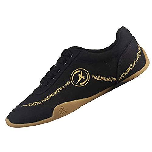 Meng Zapatos de Taekwondo Artes Marciales Zapatilla de Boxeo Karate Kung Fu Tai Chi Zapatos Zapatillas Zapatillas Ligeras (Color : Black, Size : 38)