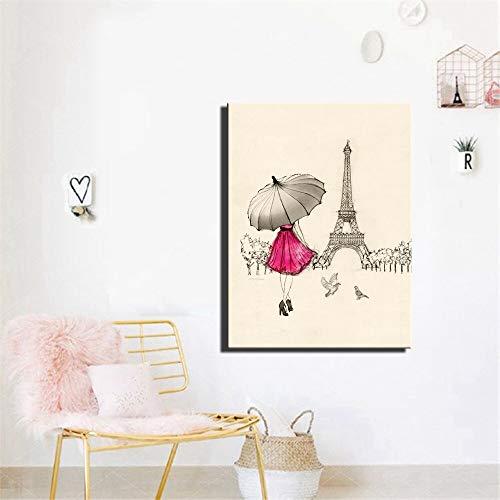 Cartoon Parijs straat muur poster meisje met rode paraplu canvas foto wanddecoratie frameloze schilderij 40x60 cm