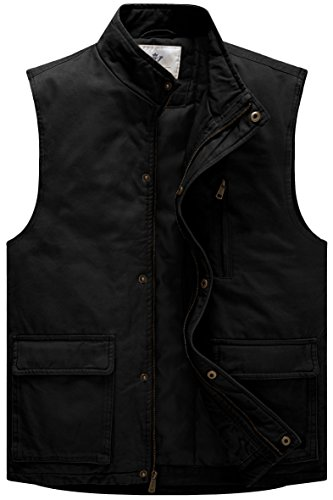 WenVen Men's Winter Cotton Quilted Vest with Zip Pocket (Black,Medium)