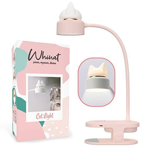 WHINAT - Libro electrónico con clip y lámpara flexible, LED y recargable por USB, luz nocturna con diseño de gato para escritorio, cama o mesita de noche, color rosa