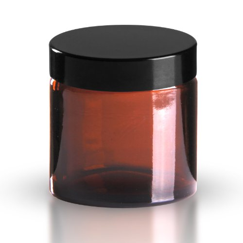 5 x Glastiegel Braunglas 60ml / Salbentiegel/Cremetiegel inkl. Schraubverschluss Bakelit schwarz 51mm/R3