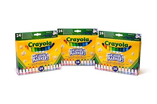 CRAYOLA 7461 -  3 Paquetes de 24 rotuladores Maxi Punta,  Tinta Lavable,  para Escuela y Tiempo Libre,  Multicolor