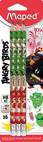 Maped Lot de 6 Crayons à Papier Graphite HB n°2 ANGRY BIRDS avec Embout Gomme Blanche et Forme Triangulaire