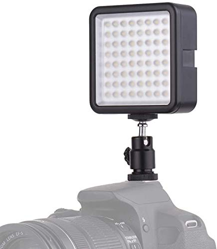 Andoer LED Videoleuchte Video Licht Kameralicht, 49 led Mini-Interlock-Kamera, LED-Panel-Licht, Dimmbare Camcorder Video-Beleuchtung mit Shoe Mount Adapter für Canon Nikon Sony A7 DSLR (64 Led)