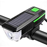 RG-FA - Fari anteriori per bicicletta a energia solare, super luminosi, a LED, antipolvere, per guida Verde