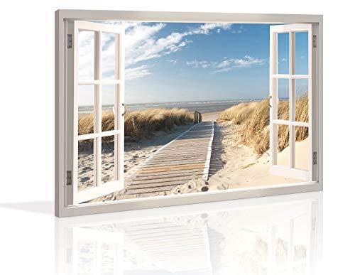 Visario Bild 120 x 80 cm auf Leinwand Düne Fensterblick 5007-SCT deutsche Marke und Lager - Die Bilder/das Wandbild/der Kunstdruck ist fertig gerahmt