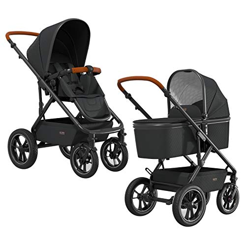 NUOVA AIR – der stabile Off-Road Komfort Kombi Kinderwagen mit Luftreifen in black
