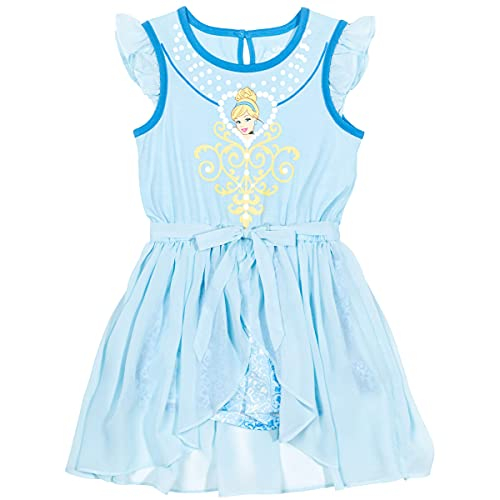 Disney Princess Cinderella Little Girls Tie Knot Sleeveless Costume Romper Blue 4-5