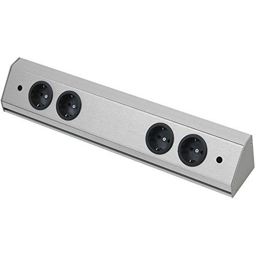 WIPO 13940562200 Steckdosenleiste Corner Compact 230 V, max.3500 Watt, L 560 mm, Edelstahl Effekt