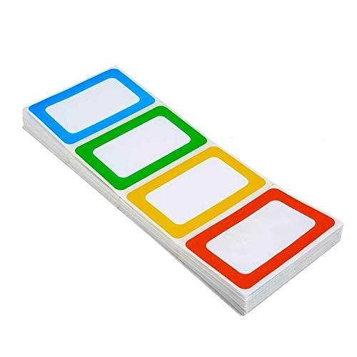 """Pinshion Colorful Plain Name Tag Stickers Border Name Tag Labels, 3 1/2"""" x 2 1/4"""" Name Tag Labels - 200 Labels"""