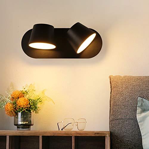 Moderna Lampada da parete a LED 14W 2 luci, Orientabile Nordico Bianco a Doppia Testa Applique paralume in Alluminio Decorativo Senza Spina per Camere da Letto Interne Soggiorno Specchio da Comodino