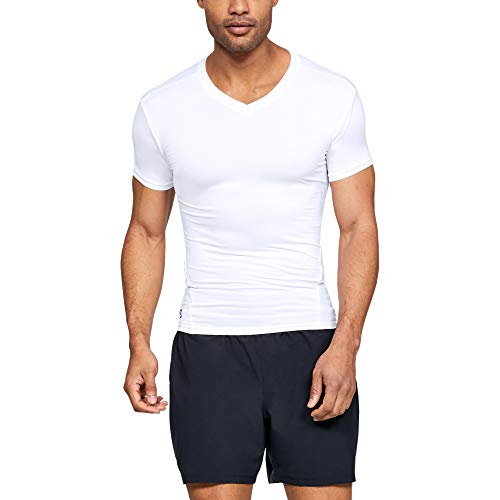 Under Armour Men's Tactical HeatGear Compression V-Neck, White (100)/Clear, Large