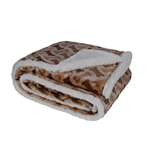 long rich Printed Dog Bone Flannel Reverse to Sherpa Throw Blanket, Taupe, by Happycare Textiles