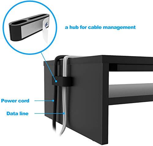 BONTEC Monitorständer, PC Bildschirm Ständer, Bildschirmständer mit Handyhalter, ergonomischem Laptop-Druckerständer mit Kabelführung für Laptop, Computer, Notebook, iMac, PC, 54CM, Schwarz