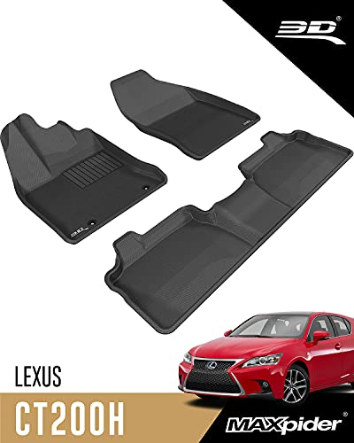 3D MAXpider Front Row Custom Fit All-Weather Floor Mat for Select Chevrolet Equinox Models Kagu Rubber Black