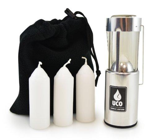 UCO L-A-VPUCO - Farol de Vela Original con 3 Velas y Bolsa de Almacenamiento, Aluminio, Talla única