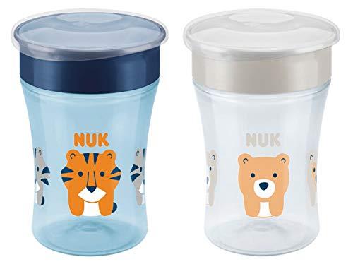 *NUK Magic Cup Trinklernbecher 2er-Vorteilspack, 360° Trinkrand, auslaufsicher abdichtende Silikonscheibe, 8+ Monate, BPA-frei, 230 ml, Tiger/Bär (blau/grau)*