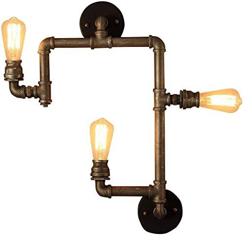 LUGEUK Homestia wandlamp zwart design industrie unieke loft 3-bussen buisvorm, bron, 53 * 62 (W * H) zonder gloeilamp