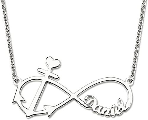 Lakabara 925 collar de plata esterlina para mujer collar de doble corazón collar con nombre personalizado con 2 nombres de oro 22.0