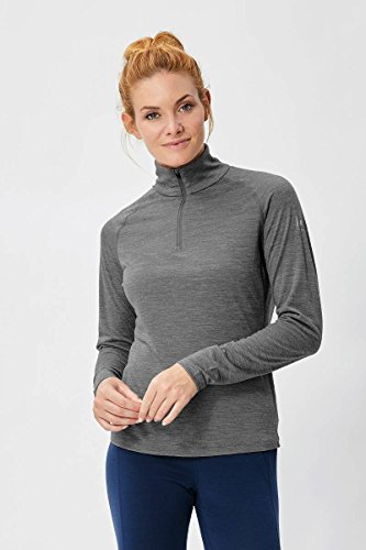 super. Natural T-shirt pour femme W Base 1/4 Zip 175 à manches longues avec col roulé _ gris_XS