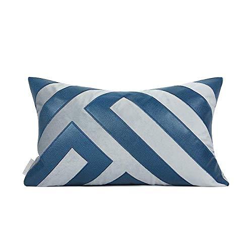 LLWYH Fundas De Cojines Funda De Almohada Rectangular De Decoración De Sala De Estar De Sofá De Empalme De Cuero De Terciopelo Simple Y Moderno Azul 30 x 50 cm (Incluido El Núcleo)