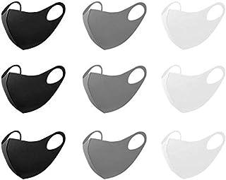 マスク 洗えるマスク 立体型 ファッションマスク 夏用 吸汗速乾 繰り返し使える ホコリ 花粉 紫外線対策 男女兼用 (ブラック&グレー&ホワイト) 9枚セット