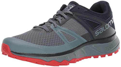Salomon Men's Trailster Trail Running Shoes, Stormy Weather/Navy Blazer/VALIANT POPPY, 10.5