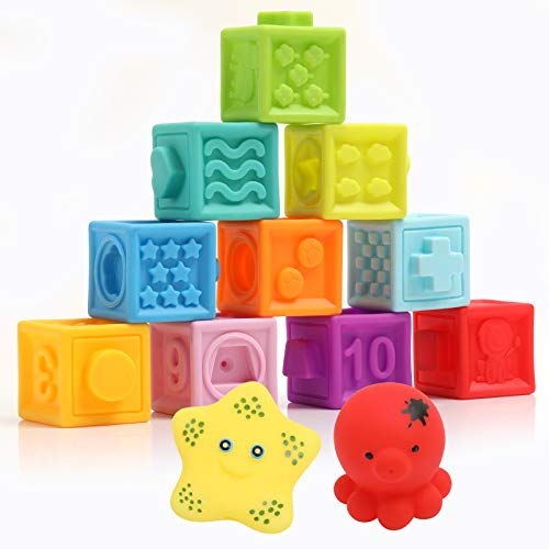 Lemostaar Baby Blocks Soft Easy to Squeeze Sensory Stacking Blocks for Babies Textured Educational Baby Building Blocks with Animal Number Shape Textures for 6 Months & Up, 10-pcs with 2 Squeezers