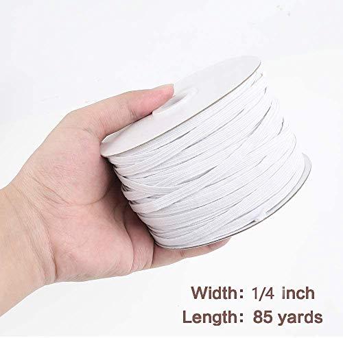 85yards Length 1/4 Inch Width Braided Elastic Band White Elastic Cord Heavy Stretch High Elasticity Knit Elastic Band for Sewing Crafts DIY, Mask, Bedspread, Cuff (6mmx85yard)