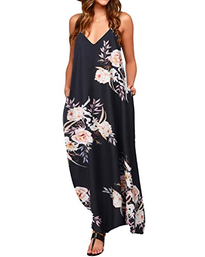 ZANZEA Sommerkleid Damen Ärmellose Maxikleid Blumen Langes Kleid V Ausschnitt Strandkleid Trägerkleid Casual, EU 48 /Etikett 4XL, Floral-b16036
