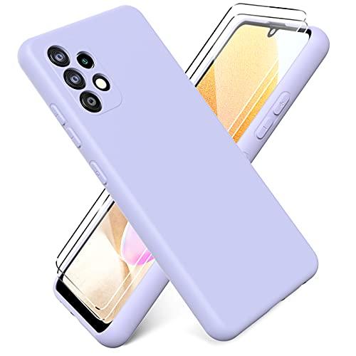 "Ikziwreo - Funda para Samsung Galaxy A32 4G 6.4"" + [2 Pack] Protector Pantalla, Carcasa de Silicona Líquida Gel Ultra Suave Funda con tapete de Microfibra Anti-Rasguño - Púrpura"