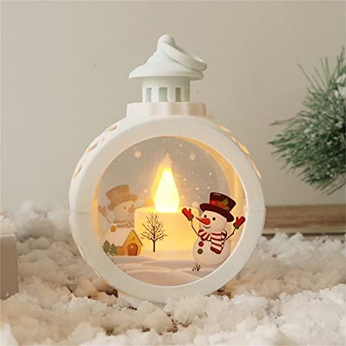 XYCDAWN Linterna de decoración navideña, decoración de Linterna de luz LED de Navidad, Papá Noel Brillante, Linterna de Globo de Nieve navideña, Linterna encendida con Pilas para-White-Snowman||Small