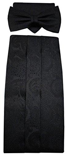 ohne Markenname ohne Markenname G8 Kummerbund Einstecktuch Fliege schwarz 100% Seide gemustert Gr. 85 bis 110 cm
